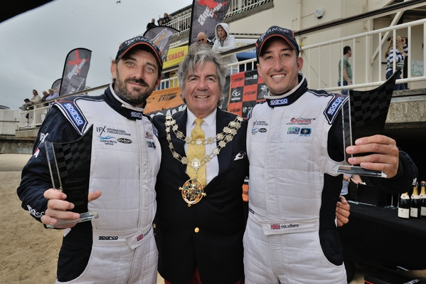 Flying Panther's Martin Robinson & Nick Williams celebrate their 2015 season triumph
