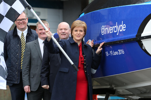 (right to left):  Scotland's First Minister, Nicola Sturgeon Inverclyde Provost, Robert Moran Riverside Inverclyde Chairman, Gerry McCarthy P1 Chief Operating Officer, Robert Wicks