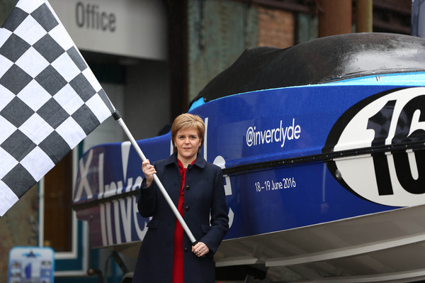 First Minister Nicola Sturgeon at the Inverclyde boat unveiling
