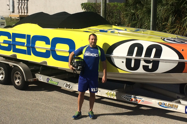 World P1 Champion racer, Craig Wilson, with the GEICO P1 Panther