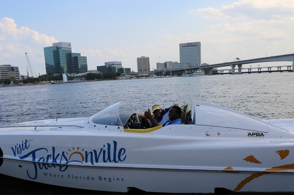 Mayor Alvin Brown launches Visit Jacksonville race boat