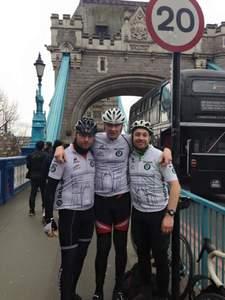 Gavin Feldt (far left) at the finish point on Tower Bridge