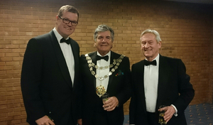 P1 chief operating officer Robert Wicks (far left) and Head of PR Roy Mantle (far right) with the Mayor of Bournemouth, Cllr. John Adams.
