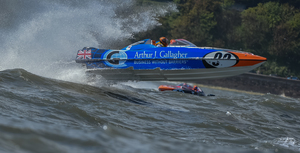 The Arthur J Gallagher powerboat gets a severe amount of air time