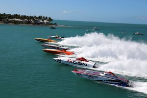 Boats in action at Key West Race World Offshore 2019                                                                                                                              Photo Credit: Freeze Frame